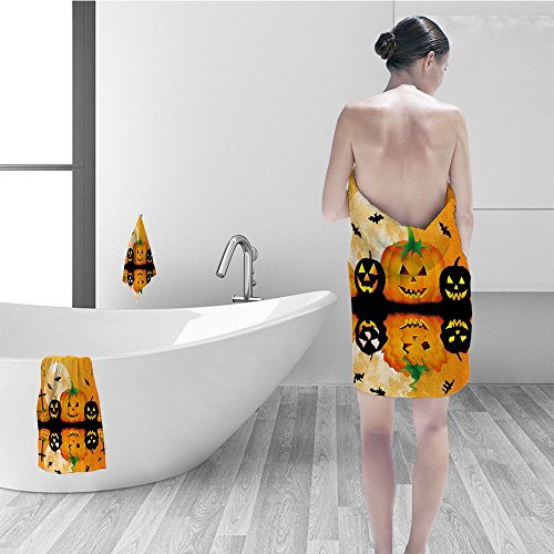Nalahomeqq Bath towel set Halloween Decorations Spooky Carved Halloween Pumpkin Decor Full Moon Bats and Grave Lake Bathroom Accessories Orange Black -