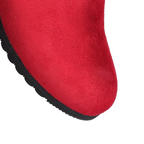 AmoonyFashion Womens Low-Heels Frosted Low-Top Solid Zipper Boots Red laNM1PxJE