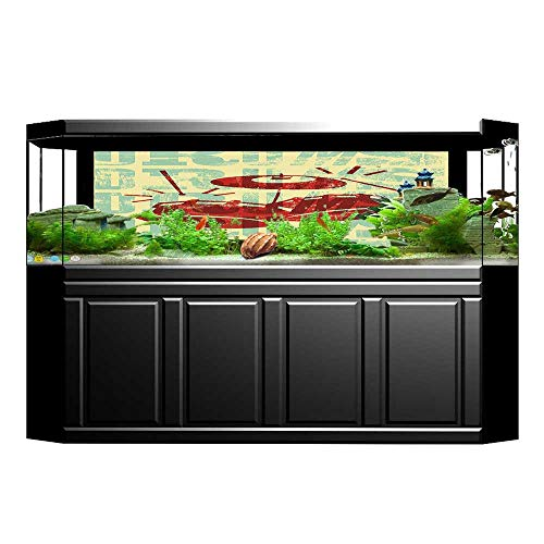 Jiahong Pan Decorative Aquarium Background Poster Groovy Drumming Poster Design Percussion Rock Instrument Play Vibe Hit Red Yellow Aquarium Sticker Wallpaper Decoration L23.6 x H19.6 (Street Percussion)