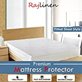 Rajlinen Luxury Cotton Waterproof Mattress Protector White Solid 100% Anti-Allergy, Anti-Bacterial Breathable Waterproof Membrane (Fitted Sheet Style, Short Queen +8'' Drop)