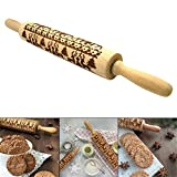 Christmas Wooden Rolling Pins StarALL Engraved Embossing Rolling Pin with Christmas Symbols for Baking Embossed Cookies(43CM)