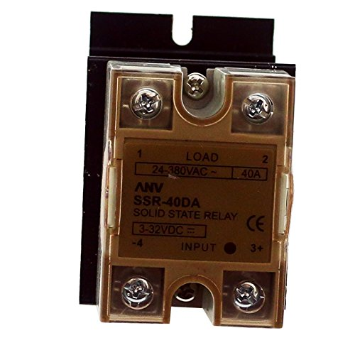 TinaWood Solid State Relay + Heat Sink SSR-40AA Solid State Relay 40A AC to AC Input AC 80-250V Output AC 24-380V (AC to AC 40A)