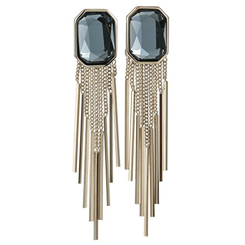 Infinite Charming Jewelry Square Austrian Crystal Tassel Drop Earrings Navy (Navy Bamboo Rings)