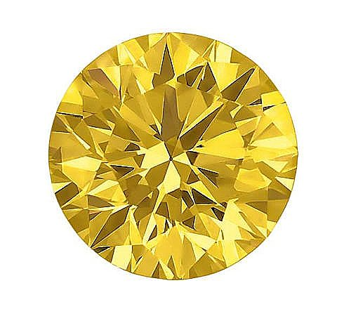 2ct 8mm YELLOW Round Crystal Carbon Labs Stone Replaces Diamonds and Moissanite better than CZ ... ()