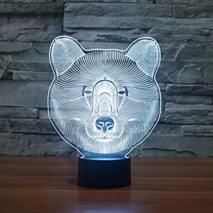 Ilusión 3D Efecto colorido Interruptor táctil USB Esome Lámpara de mesa Decoración Regalo para niños y niñas (oso polar)