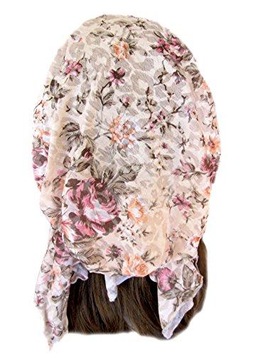 Pre tied Bandana Head Scarf Tichel Hair Snood Chemo Hat: Floral Beige Cheetah