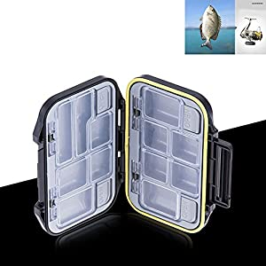 Fishing Tackle Box For Fish Tool , ABS Bait Storage Case With 12 Compartments , Waterproof Portable Convenient Carry Container For Storing Swivels , Hooks , Lures , Jewelry , Electronic Components