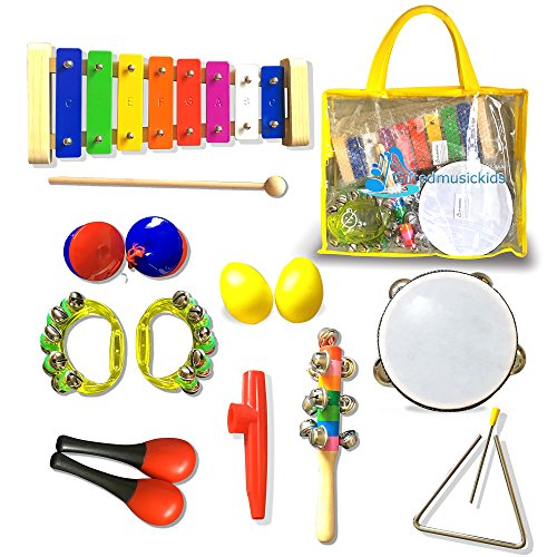 16Pcs GiftedMusicKids | Musical Instruments for Kids Set Xylophone Percussion Toy Rhythm Band Set Drum | Musical Instruments for Toddlers | ASTM Certified FDA Approved