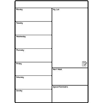 RICK Calendario Semanal Nevera Tablero Blanco Magnético Fácil de Escribir y Borrar en seco - Tablero de Notas útil para la Planificación de Alimentos, ...