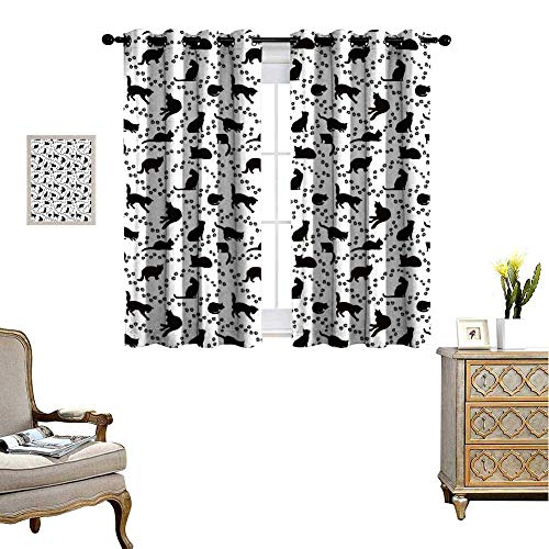 Cozydaily Cat Grommet Curtains Cat Silhouette and Animal Tracks Pattern Paws Footprints Kitties Different Poses Room Darkening Window Curtain for Living Room 55'' x 45'' Black and White