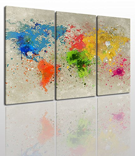- Colorful World Map Canvas Wall Art Painting Modern Design Picture for Home Office Decor - 3 Pieces Framed On Wooden Frame Image Pictures Photo Artwork Decoration Ready to Hang