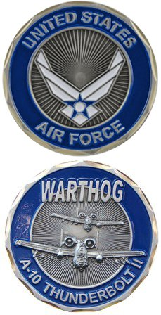 United States Military US Armed Forces Air Force A-10 Thunderbolt 2 Warthog - Good Luck Double Sided Collectible Challenge Pewter Coin by Eagle Crest