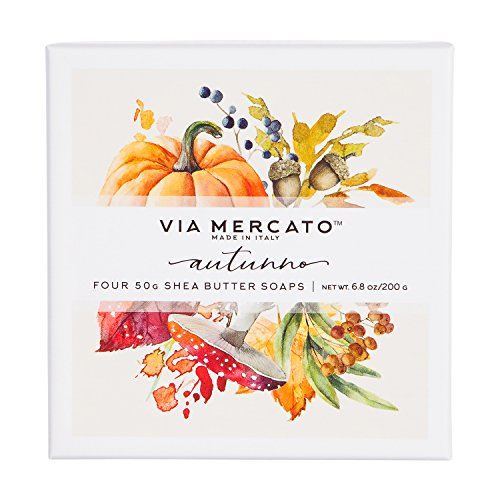 Via Mercato Natale Shea Butter Soap Boutique Luxury Gift Box (Set of 4, 50g Each) - Autunno from Via Mercato
