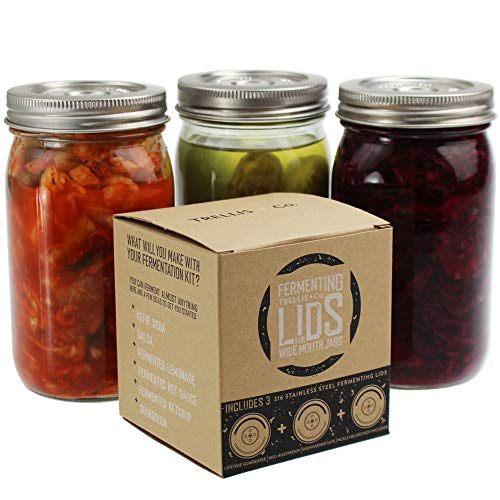 Trellis + Co. 316 Stainless Steel Fermentation Lids | 3 Silicone Waterless Fermenter Airlock Lids | Easy Lacto Fermenting Wide Mouth Mason Jar Canning Lids | Free Recipe eBook Included