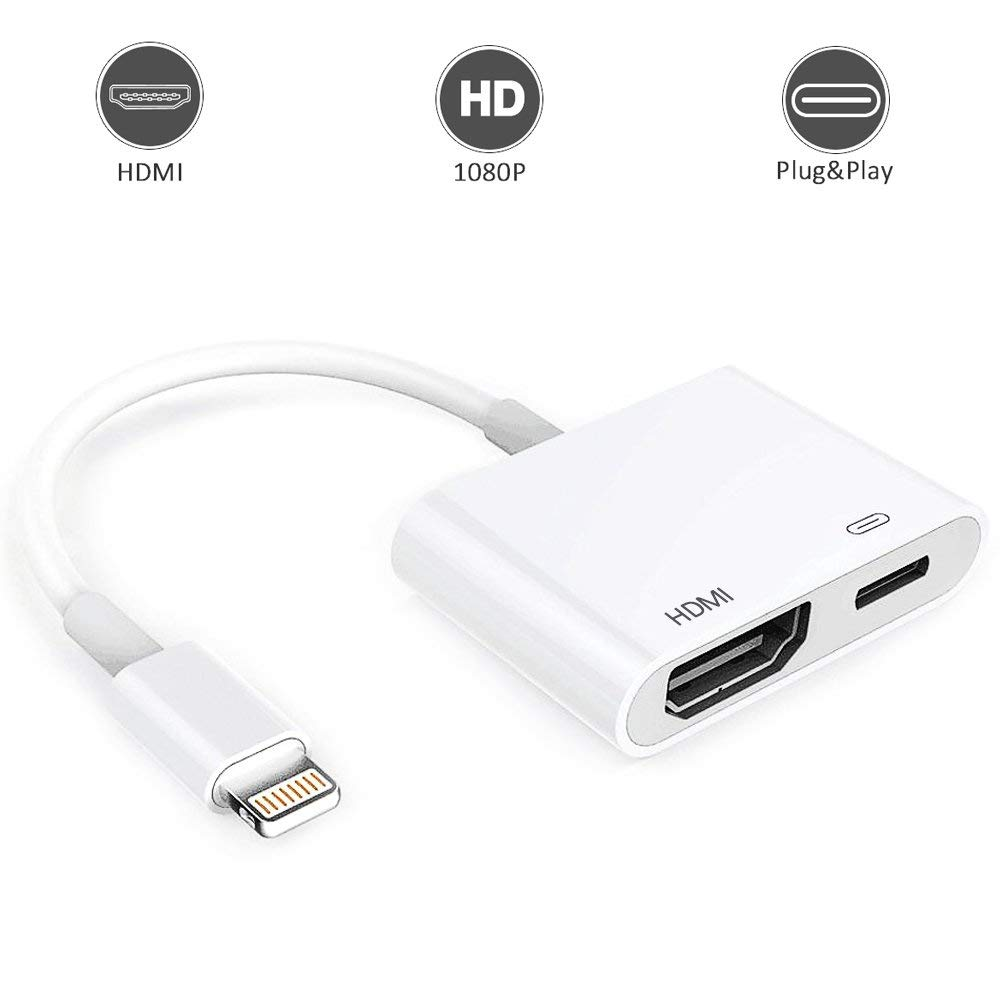 Lighting to HDMI Adapter, Lighting Digital AV Adapter with Lighting Charging Port for HD TV Monitor Projector 1080P for iPhone, iPad and iPod(Support iOS 11, iOS 12)-White