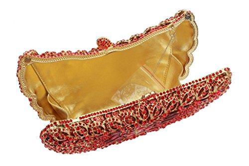 soirée à Rouge main Ladies Yilongsheng Sacs Glitter avec Shiny Cristal zEIz4q