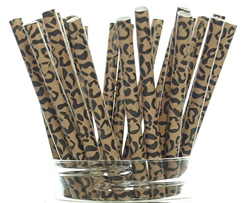 (25 Pack) - Cheetah Paw Pattern Drinking Straws, Cheetah Party Supplies, Big Cat Animal Spot Fabric Paper Straws ()