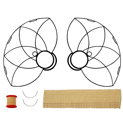 Pair of Lotus Petal Fire Fans with 2 inch wick Kit - Make Your Own - Black