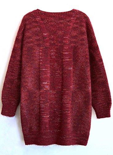 Tricots Hiver Offener Hiver Futurino Femme Automne Manteau Pockets ssige Knit Cardigan Chaud L Bordeaux Veste Tricots 7qzvwqR