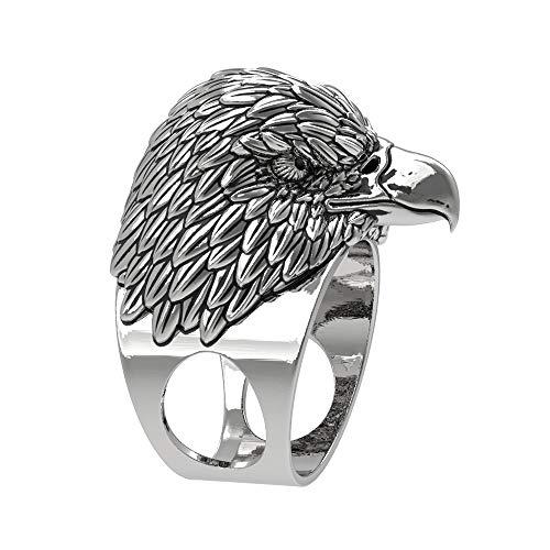 EEJART 316L Stainless Steel Eagles Head Design Animal Ring, Suitable for Hiphop Biker Men's Domineering Punk Ring.(Silver, -