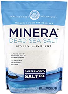 Minera Dead Sea Salt 2lb Bag Fine Grain, 100% Pure Mineral Salt Treatment
