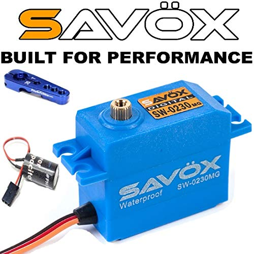 Savox SW-0230MG Waterproof Metal Gear Digital Servo High Voltage + Powerhobby Glitch Buster + Horn ()