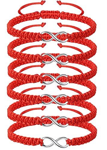 LOYALLOOK 6Pcs Distance Couple Bracelets Friendship Women Mens Infinity Bracelets Braided Link Strentch Kabbalah Bracelets Adjustable 6pcs Red -