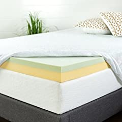 The Zinus green tea memory foam 4 inch mattress topper will enhance the comfort your mattress with 1.5 inch memory foam and 2.5 inches high-density support foam. A cover is not included as our memory foam topper can fit under any standard fit...