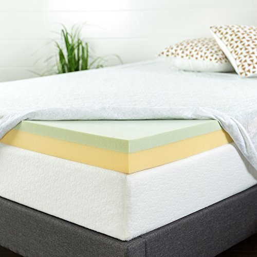 Zinus 4 Inch Green Tea Memory Foam Mattress Topper, -