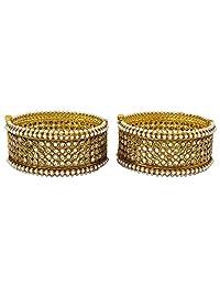 Matra Indian Traditional Goldtone 2 Pcs Screw Lock Kada Bangle Set Women Jewelry