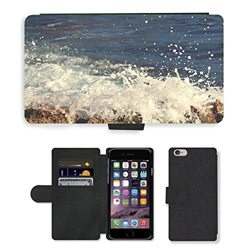 "PU Leather Cover Custodia per // M00421728 Crashing Waves eau océan mer // Apple iPhone 6 PLUS 5.5"""