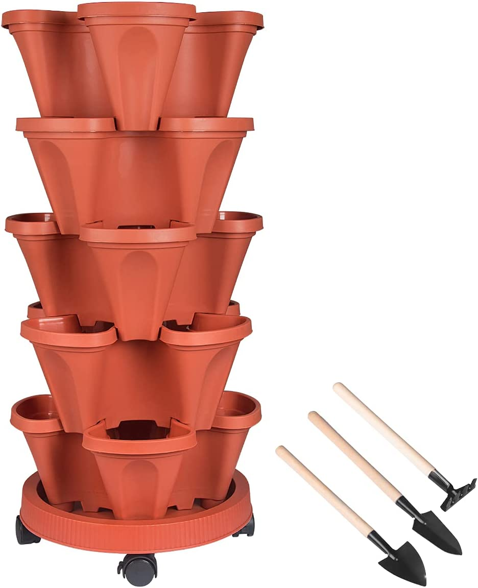 Stackable Planter, 5 Tier Vertical Garden Planter with Movable Wheels and Planters Tools, Tower Garden Planters for Vegetables, Flowers, Herbs, Strawberries Planting, Indoor Outdoor Gardening Pots