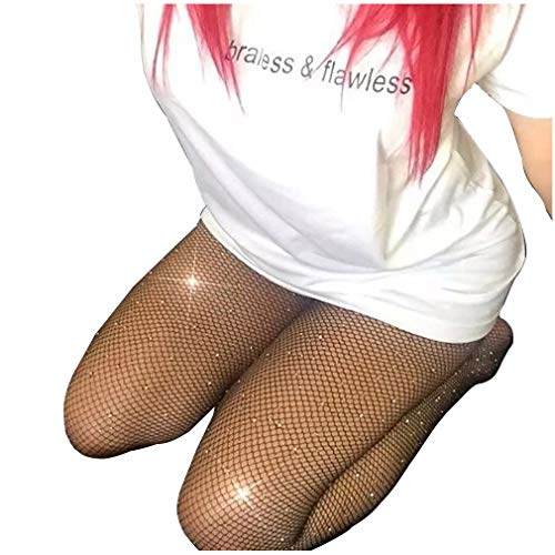 Sexy Jeweled Sparkly Diamond Fishnet Stockings High Waist Tights Shiny Rhinestone Sheer Pantyhose With Bling Crystals -