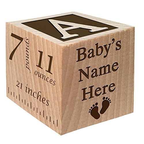 Newborn Baby Birth Announcement - Personalized Baby Block New Birth Announcement Custom Engraved Wooden Baby Block for Newborn Boys and Girls