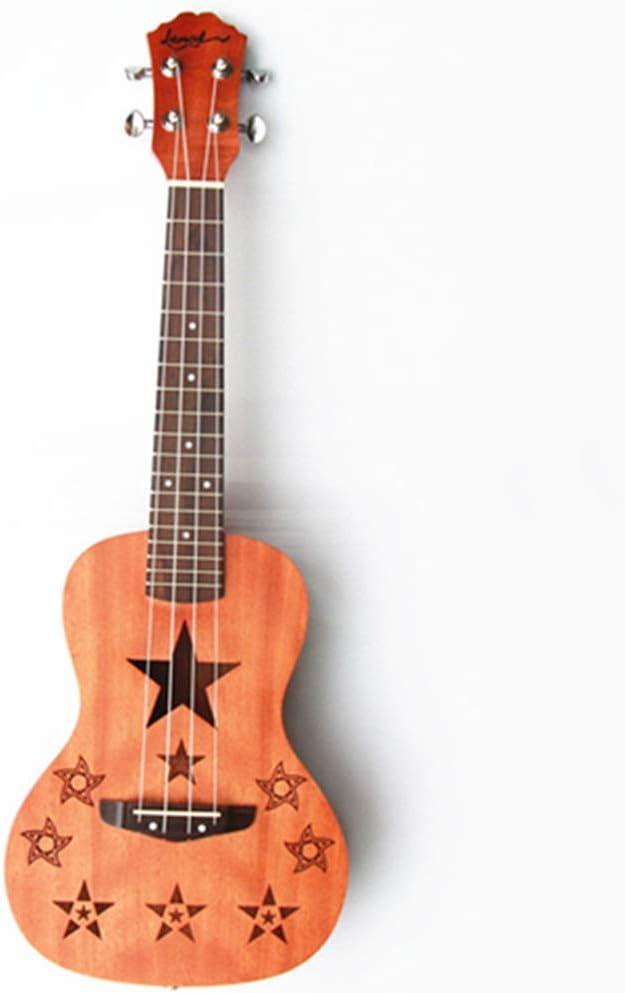 Miiliedy Sun Moon Forma de estrella Grabado de la serie Ukulele conmemorativo 23 pulgadas Principiante Adultos Niños Práctica Profesional Tocando una guitarra pequeña de cuatro cuerdas