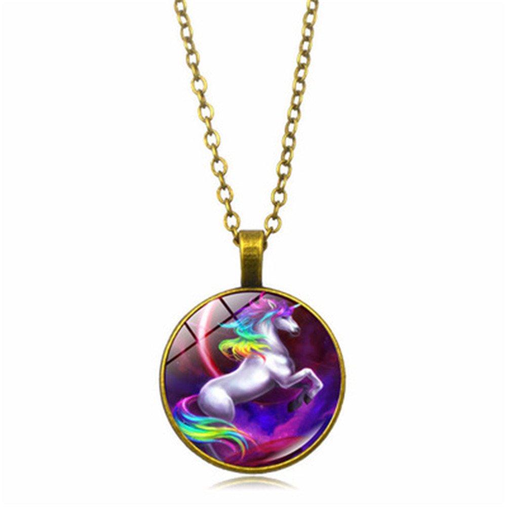 FLDC Pegasus Unicorn Time Necklace Alloy Pendant 18'' Chain