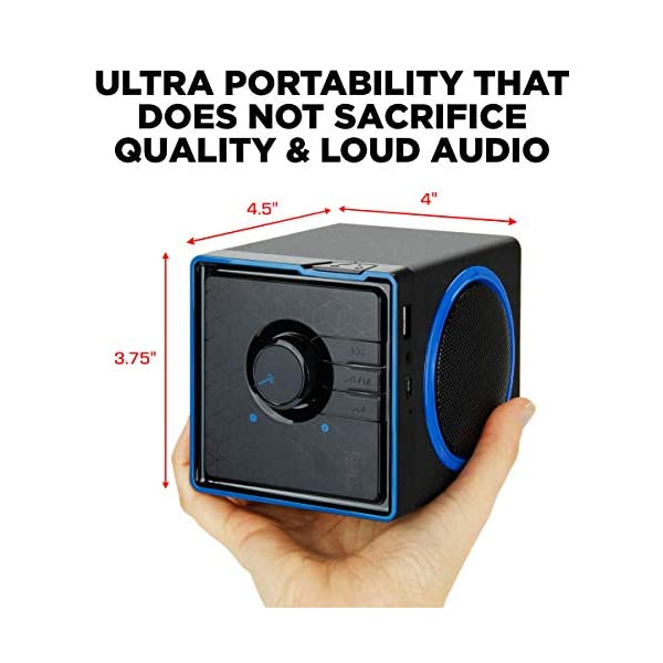 Portable Speaker with USB Music Player - Cube Speaker with USB Flash Drive MP3 Input, 3.5mm AUX Port, Playback Controls, Rechargeable Removable Battery (Wired, Blue) 6