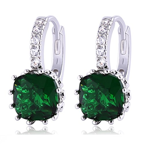 Green Huggie Earrings (GULICX Women's Jewelry Emerald Color Green Cubic Zirconia Huggy Huggie Hoop Earrings Pierced)