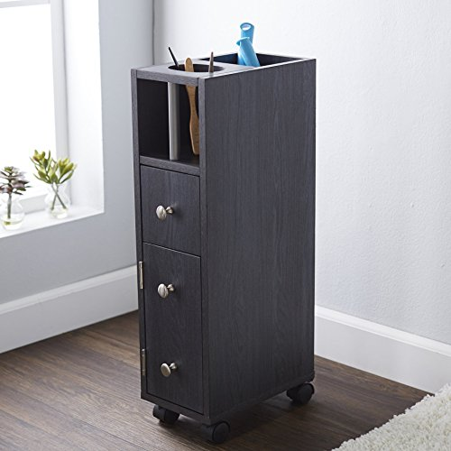 Freestanding Bathroom Hair Essential Storage Cabinet Made with Wood in Dark Gray Finish 27'' H x 7'' W x 11.75'' D - 27' Cabinet
