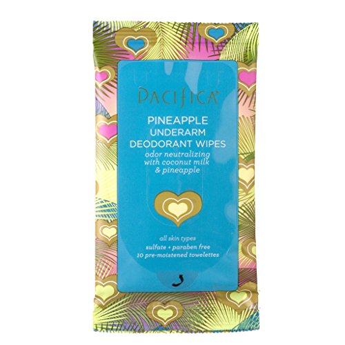 Pacifica Beauty Underarm Deodorant Wipes Travel Size, Coconut Milk & Pineapple, 10 ct
