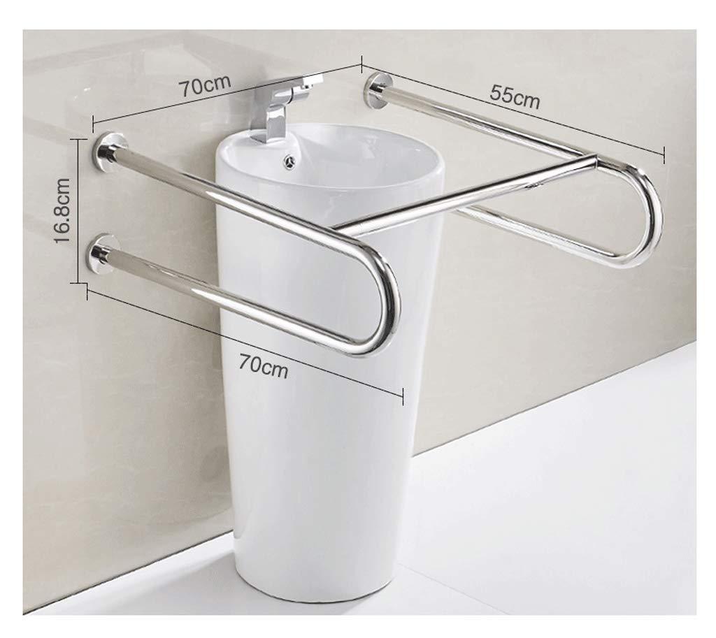 ステンレス製の手すり、手すり、柱の手すり、バスルームU字型の手すり、移動性の低下した人々に適して、高齢者、妊婦 (設計 : Polished (legless)) Polished (legless)  B07KD98QX9