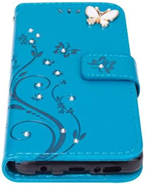 Case for Samsung Note 10,Aulzaju Galaxy Note 10 3D Handmade PU Leather Wallet Cover Bling Diamond Butterfly Flower Credit Card Kickstand Shockprooof Skin for Samsung Note 10-Rose Red
