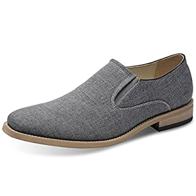 Succi Men's Casual Oxford Shoes Canvas Loafers Grey Slip On
