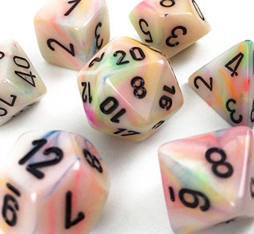 Custom & Unique {Standard Medium} 7 Ct Pack Set of [D4, D6, D8, D10, D12, D20] Assorted Polyhedral Shapes Opaque Numbered Playing & Game Dice w/ Tie Dye Swirl Design [Pink & Green Colored] w/ Bag