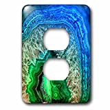 3dRose Uta Naumann Pattern - Image of Luxury Indigo and Green Marble Agate Gem Mineral Stone - Light Switch Covers - 2 plug outlet cover (lsp_274959_6)