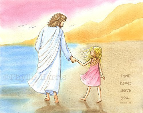 Children's Wall Art - Jesus and little girl walking on the beach - Inspirational Wall Art for kids (Little Girl Walking)