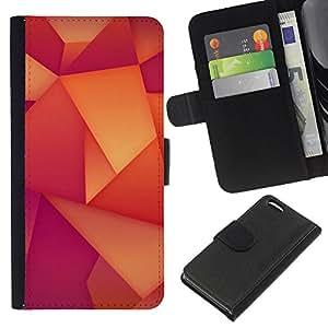 All Phone Most Case / Oferta Especial Cáscara Funda de cuero Monedero Cubierta de proteccion Caso / Wallet Case for Apple Iphone 5C // Polygon Wallpaper Pattern Orange Purple