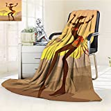 AmaPark Lightweight Blanket Lady in Ritual Dance Person in Style Artisan Brown Cocoa Digital Printing Blanket