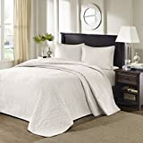 3pc Oversized Ivory King Bedspread Floor Set, 120 X 118, Polyester, Solid Cream Tone, Stylish Classic Stitched, Bedding Drops Over Edge King Beds