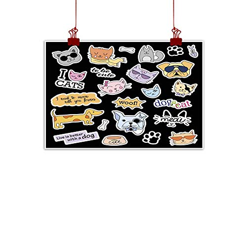 duommhome Living Room Decorative Painting Fashion Patch Badges Cats and Dogs Set Stickers pins Patches Living Room Decorative Painting 47